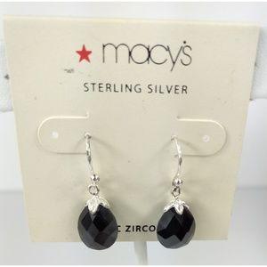 NWT Macy's Sterling Silver CZ Drop Earrings